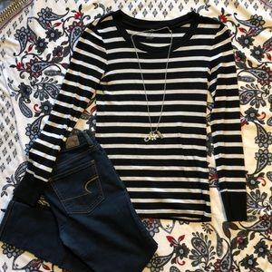 Gap, super soft, black and white long sleeve shirt